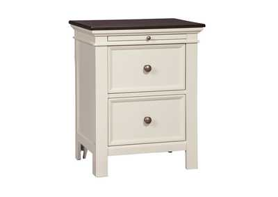 Woodanville White/Brown 2 Drawer Nightstand