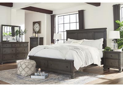 Devensted Dark Gray King Storage Bed w/Dresser & Mirror