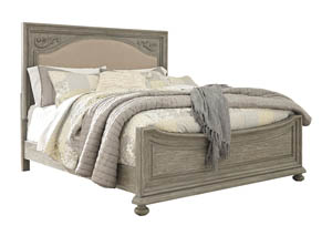 Marleny Gray/Whitewash California King Upholstered Panel Bed