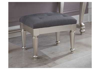 Coralayne Silver Upholstered Stool,48 Hour Quick Ship