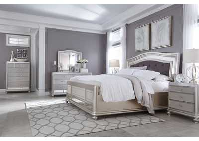 Coralayne Silver King Upholstered Bed w/ Dresser, Mirror, Drawer Chest and Nightstand