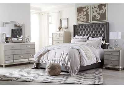 Coralayne Gray Queen Upholstered Bed w/Dresser, Mirror & Drawer Chest