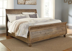 Trishley Light Brown King Sleigh Bed