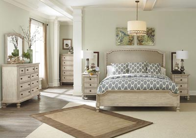 Demarlos California King Upholstered Panel Bed w/Dresser, Mirror, Drawer Chest & Night Table
