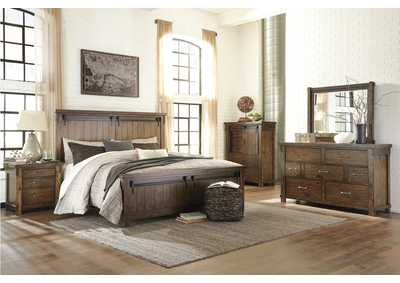 Lakeleigh Brown King Panel Bed w/Dresser, Mirror, Drawer Chest & Nightstand