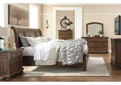 Flynnter Medium Brown Bedroom Dresser w/Mirror