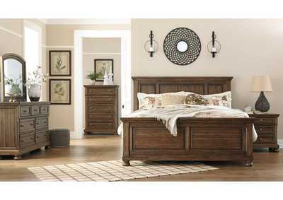 Flynnter Medium Brown King Panel Bed