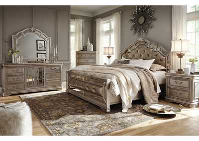 Birlanny Silver Queen Upholstered Bed w/Dresser, Mirror, Drawer Chest & Nightstand