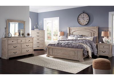 Charmyn White Wash King Panel Bed w/Dresser and Mirror