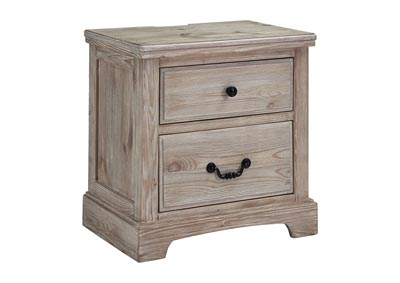 Charmyn White Wash 2-Drawer Nightstand