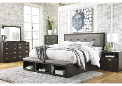 Image for Hyndell Dark Brown King Upholstered Storage Bed w/Dresser and Mirror