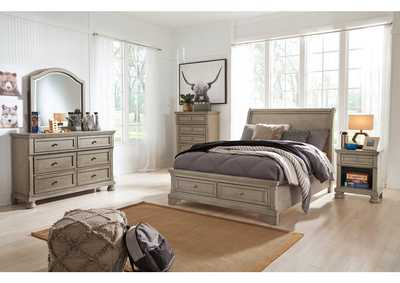 Image for Lettner Light Gray Full Sleigh Storage Bed w/Dresser and Mirror