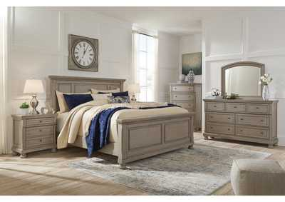 Lettner Light Gray King Panel Bed w/Dresser and Mirror