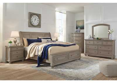 Image for Lettner Light Gray King Sleigh Storage Bed w/Dresser and Mirror