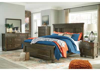 Darloni Grayish Brown Queen Panel Bed w/Dresser and Mirror