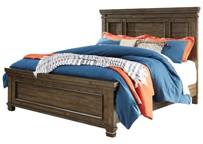 Darloni Grayish Brown King Panel Bed