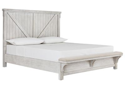 Brashland White King Bed w/Bench Footboard