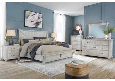 Image for Brashland White Queen Bed w/Bench Footboard,Dresser and Mirror