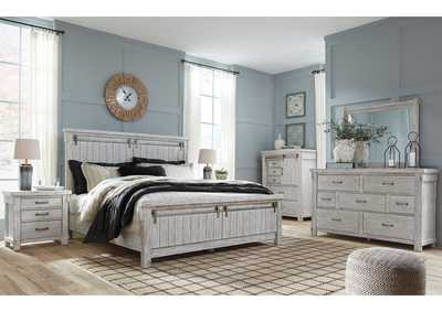 Brashland White California King Panel Bed w/Dresser and Mirror