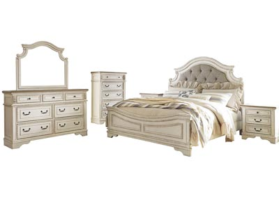 Image for Realyn Chipped White Queen Panel Bed and Dresser w/Mirror