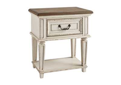 Realyn Chipped White Nightstand