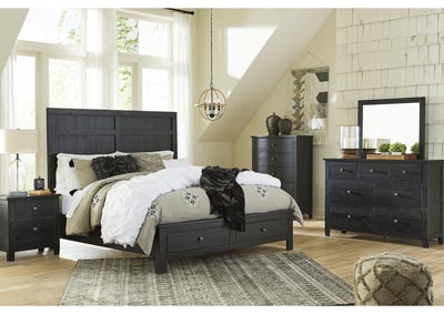 Noorbrook Black Queen Storage Bed w/Dresser and Mirror