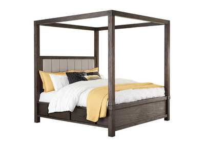 Dellbeck Dark Brown Canopy Storage Queen Bed