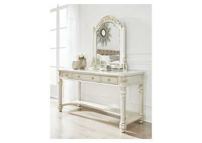 Cassimore Pearl Silver Vanity and Mirror