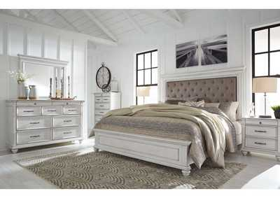 Kanwyn Whitewash King Panel Upholstered Bed w/Dresser & Mirror