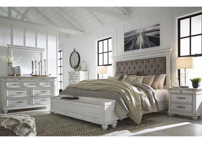 Image for Kanwyn Whitewash King Upholstered Storage Bed w/Dresser and Mirror