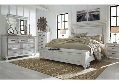 Image for Kanwyn Whitewash California King Panel Storage Bed w/Dresser & Mirror