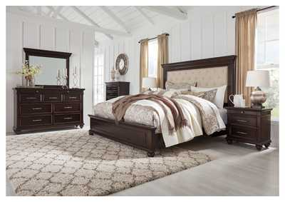 Brynhurst Brown California King Upholstered Panel Bed Dresser w/Mirror