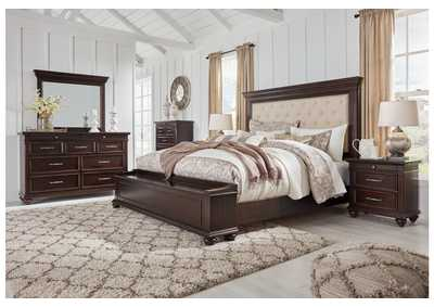 Brynhurst Brown California King Upholstered Storage Bed Dresser w/Mirror