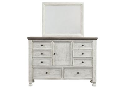 Havalance White Dresser and Mirror