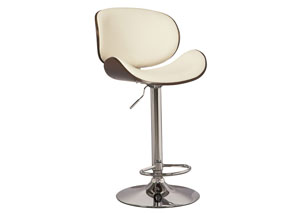 White Tall Upholstered Swivel Barstool