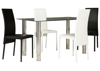 Sariden Chrome Finish Rectangular Table w/2 White & 2 Black Chair