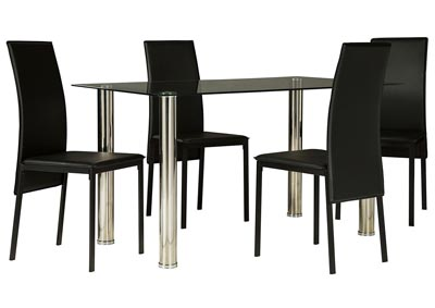 Sariden Chrome Finish Rectangular Table w/4 Black Chair