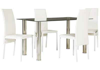 Sariden Chrome Finish Rectangular Table w/4 White Chair