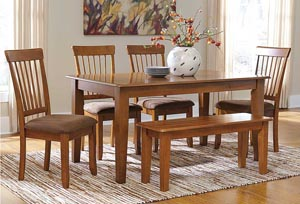 Image for Berringer Rectangular Dining Room Table w/ 4 Chairs & Bench
