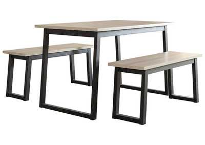 Image for Waylowe Two-Tone Dining Table and Benches (Set of 3)