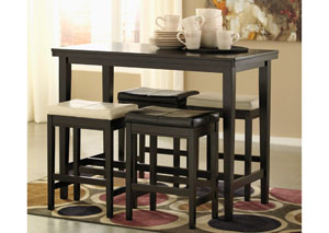 Kimonte Rectangular Counter Height Table w/ 2 Ivory & 2 Dark Brown Barstools