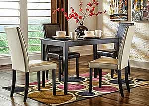Kimonte Rectangular Dining Table w/ 2 Dark Brown Chairs & 2 Ivory Chairs