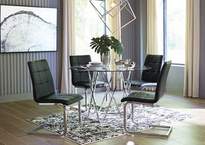 Madanere Black/Chrome Round Dining Room Sets,Signature Design By Ashley