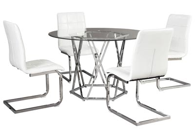 Image for Madanere White/Chrome Round Dining Room Sets