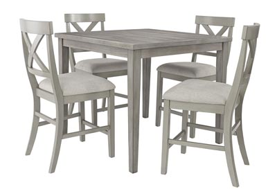 Parellen Gray Counter Dining Table w/4 Bar Stool