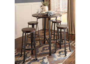 Challiman Rustic Brown Round Dining Room Bar Table w/ 4 Tall Stools