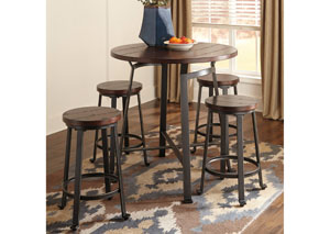 Image for Challiman Rustic Brown Round Counter Table w/ 4 Stools