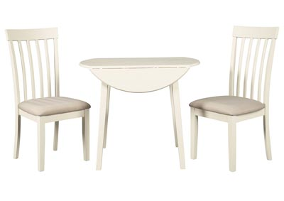 Slannery White Dining Table w/2 Side Chairs