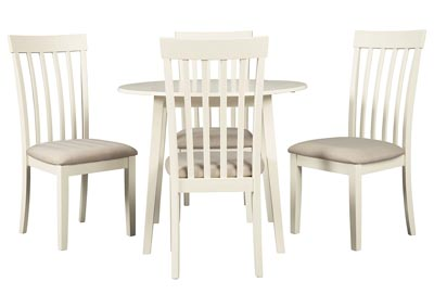 Slannery White Dining Table w/4 Side Chairs