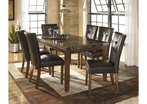 Lacey Rectangular Dining Table w/6 Medium Brown Chairs